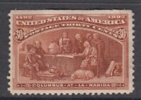"USA MINT OG Scott #239  30 cent orange brown ""Columbian Exposition"""