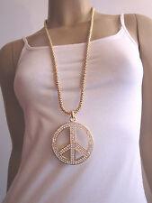 Kette lang Bettelkette Halskette XL Großer 3D Strass Peace Anhänger Gold Bling