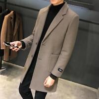 Men's Slim Fit Cashmere Wool Coat Lapel Collar Trench Long Jacket Overcoat Ths01