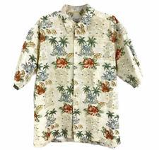 Pierre Cardin Men's Hawaiian Button Down Shirt Sz XL Palms Hibiscus Flower Ivory