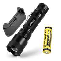 SKYWOLF Tactical Flashlight T6 LED 18650 100000Lumen Torch Zoomable Lamp Light G