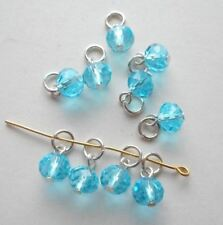 20pcs-Hand made charms-1 loop faceted Aqua blue CZ glass beads with jump ring