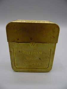 ANTIQUE PATENT DTD SIGNED AMERICAN WALTHAM WATCH COMPANY BRASS CARRYING CASE