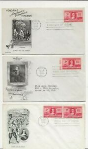 United States Comm/FDC - 3 x Honoring America's Vol Firemen - 1948 (080)