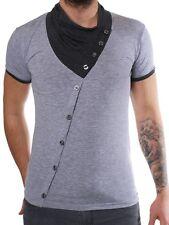ReRock Herren Party Club T-Shirt JUICY grau melange Schalkragen Japanlook 1207