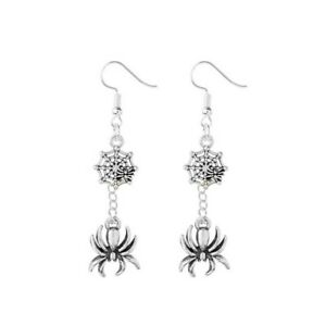 Spider & Web Gothic Earrings Halloween Tibetan Silver 1 Pair