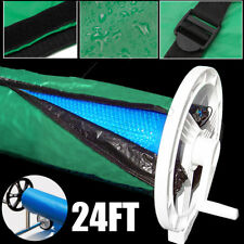 24ft Swimming Pool Solar Roller Reel Adjustable Solar Blanket Winter Cover Green
