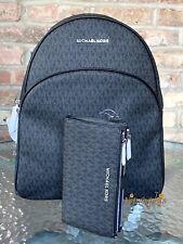 MICHAEL KORS ABBEY LARGE MK LOGO SIGNATURE PVC BACKPACK + WALLET SET BLACK