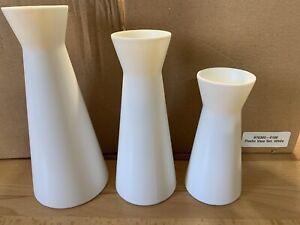 New White Plastic 3 Piece Vase Set Wedding/Party Center Piece