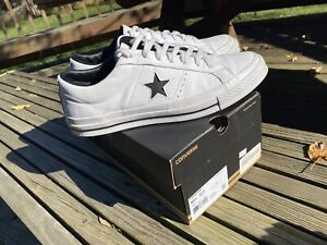 Converse One Star Ox Leather White/Black Lo Sneaker Vtg Retro Skateboarding Shoe