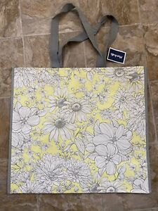 NEW Marshalls Shopping Bag Yellow White Floral Reusable Tote Eco Friendly NWT
