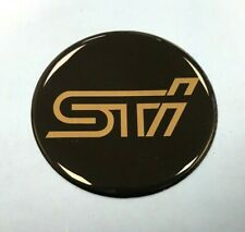 STi Sticker/Decal GOLD on BLACK 49mm DIAMETER HIGH GLOSS DOMED GEL FINISH
