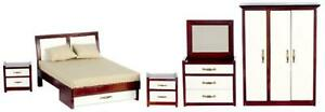 Dolls House Modern Mahogany White Double Bedroom Set Miniature Furniture 5 Piece
