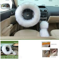 Soft Fluffy Plush Australian Wool Car Steering Wheel Cover Gear Shift 3pcs White