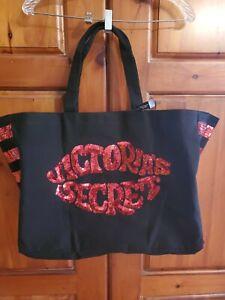 VICTORIA SECRET Tote Bag - Black And Red Sequins Weekender Large