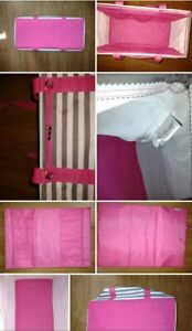 """Thirty One Large Utility Tote 21.75"""" x 11.75"""" x 10"""" Striped Gray Pink Straps Lin"""