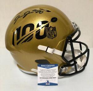 Josh Jacobs Signed Autographed 100th Full Size Helmet RAIDERS Beckett COA A