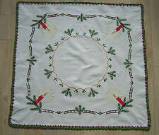 Vintage Christmas Xmas Hand – embroidered Tablecloth Candlesticks & fir branches