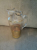 """Vintage clear glass pitcher with gold stripes 10"""""""