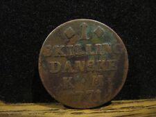 1 SKILLING DANSKE DENMARK 1771 COIN KM 616.1