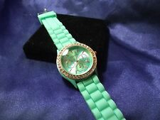 Woman's Geneva Watch  with Turquoise Band & Face **Nice** B44-737