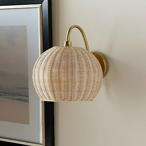 Woven Rattan Wicker Wall Sconce Lamp Light w/Gold Arm Base Boho Coastal Accent