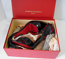 "Charles Jourdan Paris ""Ilene"" Black Ankle Strap Fashion Heel W/Box Sz 10 M, NEW"