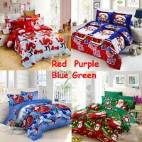 4PCS Christmas Print Duvet&Pillowcases Quilt Cover Bedding Set Double King Xmas