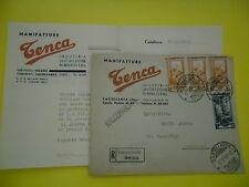 BUSTA+LETTERA RACCOMANDATA 1951 MANIFATTURE TENCA CASTELLANZA PER GALLIPOLI - T
