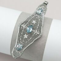 Vtg Art Deco Silver Rhodium Plate Filigree Aquamarine Glass Pendant 4 Necklace