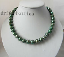 17'' 11.5mm Round Green Freshwater Pearl Adjustable Clasp Necklace