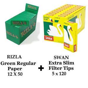 600 x Rizla Green Regular Rolling Papers & Swan Extra Slim Filter Tips Smoking