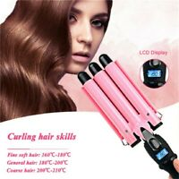 Electric Salon Ceramic Triple Barrel Hair Wave Waver Curling Iron Curler Wand US