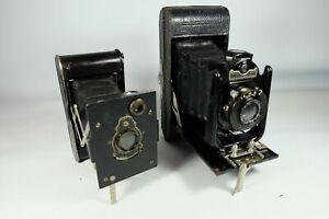 2x Old Vintage Folding Cameras KODAK VEST POCKET, BUCHER'S CARBINE