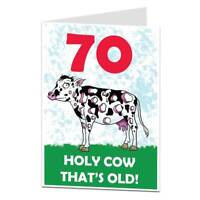 Funny 70th Birthday Card For Men & Women 70 Today Holy Cow That's Old!