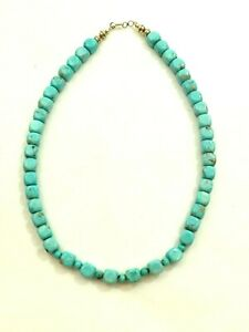 """Sharp 49 Stone turquoise cube bead Necklace sterling Clasps 18"""""""