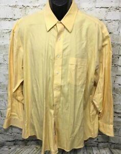 Tommy Hilfiger Traveler Mens Sz 17 1/2 33 Yellow Soft Cotton Button Down Shirt