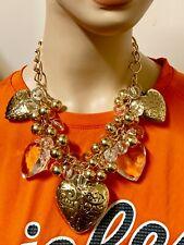 Metallic Bead Heart Charm Necklace Set - Gold Tone