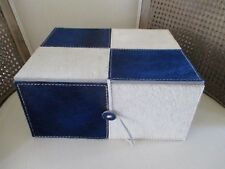 "HAIR on HIDE BLUE IVORY CHECKERBOARD Decorative STORAGE BOX ~ 9"" x 11"" ~ New"