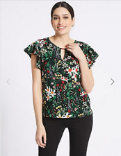 M&s per Una Black Floral Print Short Sleeved Top Size 10