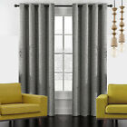 Textured Linen Look Thermal Insulated Blockout Eyelet Curtain Panel Blackout