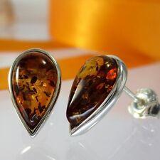 A259 klassisch schöne Ohrringe 925 Silber Schmuck baltische Bernstein Amber