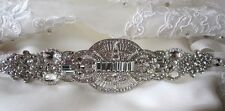 Bridal Dress Gown Beaded Jeweled Crystal Belt Sash Applique Brooch Art Deco