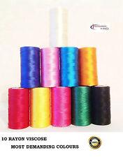 10 Rocchetti Macchina Da Cucire Seta Ricamo Tinta Unita Thread BROTHER,JANOME,