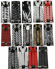 Mens Unisex Clip-on Braces Elastic Animal Print,Polka Dot,Checkers Suspenders