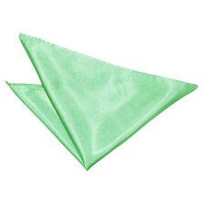 DQT Satin Plain Solid Mint Green Formal Handkerchief Hanky Pocket Square