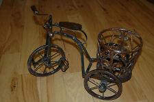 Vintage Metal Wood Tricycle Wicker Basket Planter w/Wood Seat, Handles, Wheels