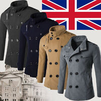 UK Men Winter Fleece Double Breasted Trench Coat Jacket Overcoat Outwear Sweater