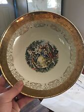 "Vintage Sabin Crest-O-Gold Set of 6 6 1/4"" Bread Plates 22k Gold Trim Excellent"