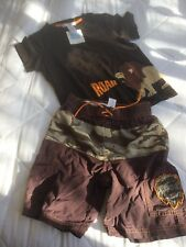 Janie And Jack Boys Natural Safari Lion NWT Top EUC Swim Shorts 4T Embroidered